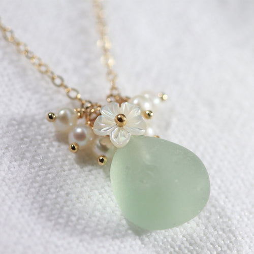 Sea foam green Sea Glass, Pearls and MOP carved flower necklace  in 14kt GF
