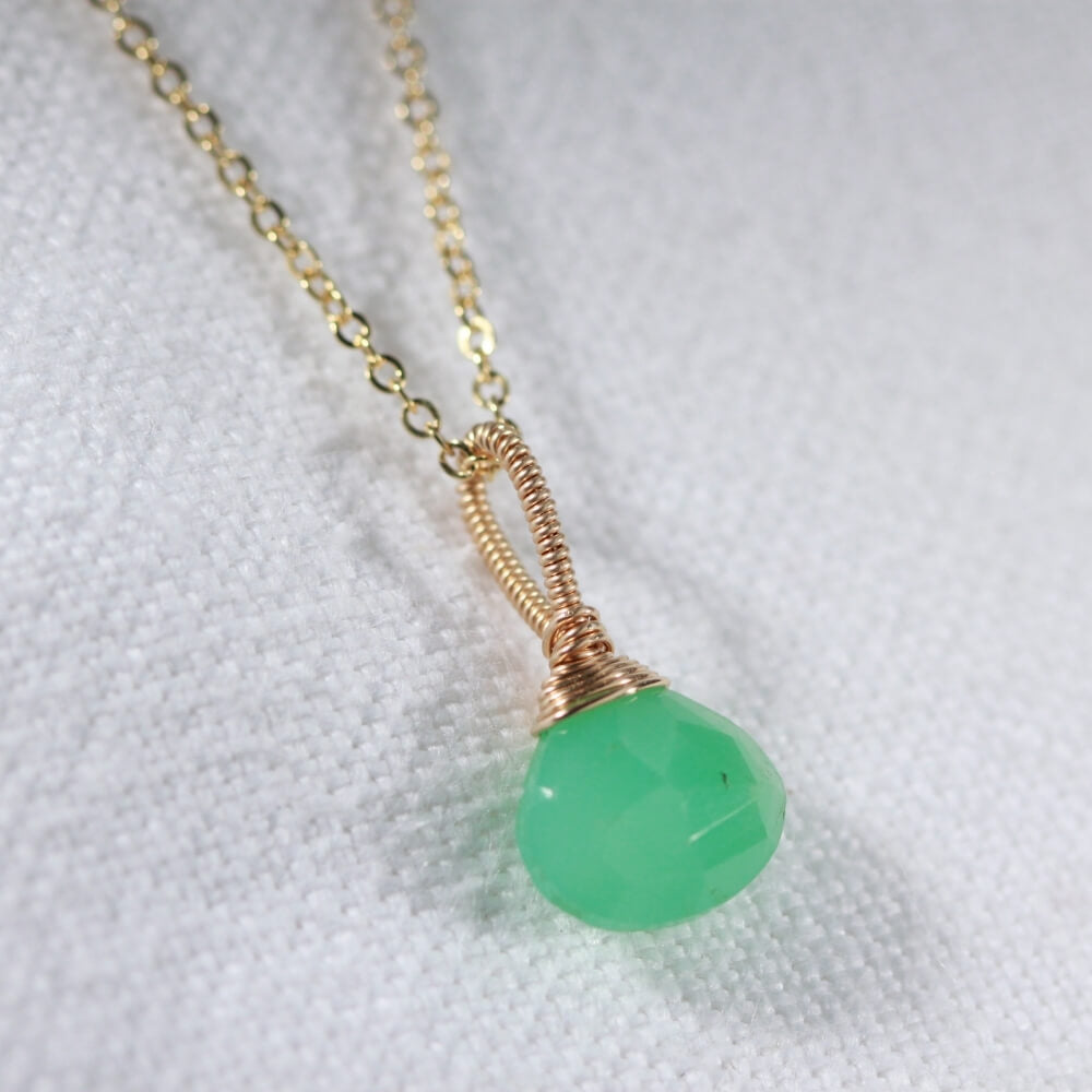 Chrysoprase Briolette Pear gemstone pendant Necklace in 14 kt Gold-Filled