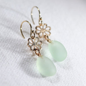 Sea foam Sea Glass Earrings on hand hammered 14 kt gold-filled flowers