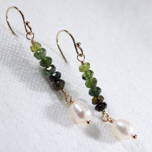 Tourmaline, Green and pearl Earrings in 14 kt Gold Filled