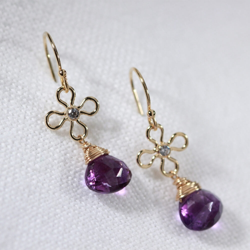 Amethyst Dangle Earrings in 14 kt Gold Filled