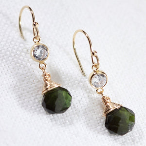Tourmaline, Green gemstone Dangle Earrings with CZ in 14 kt Gold Filled