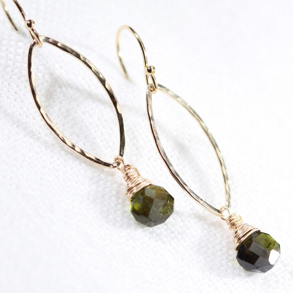 Tourmaline, Green gemstone Hammered marquise Hoop Earrings in 14 kt Gold Filled