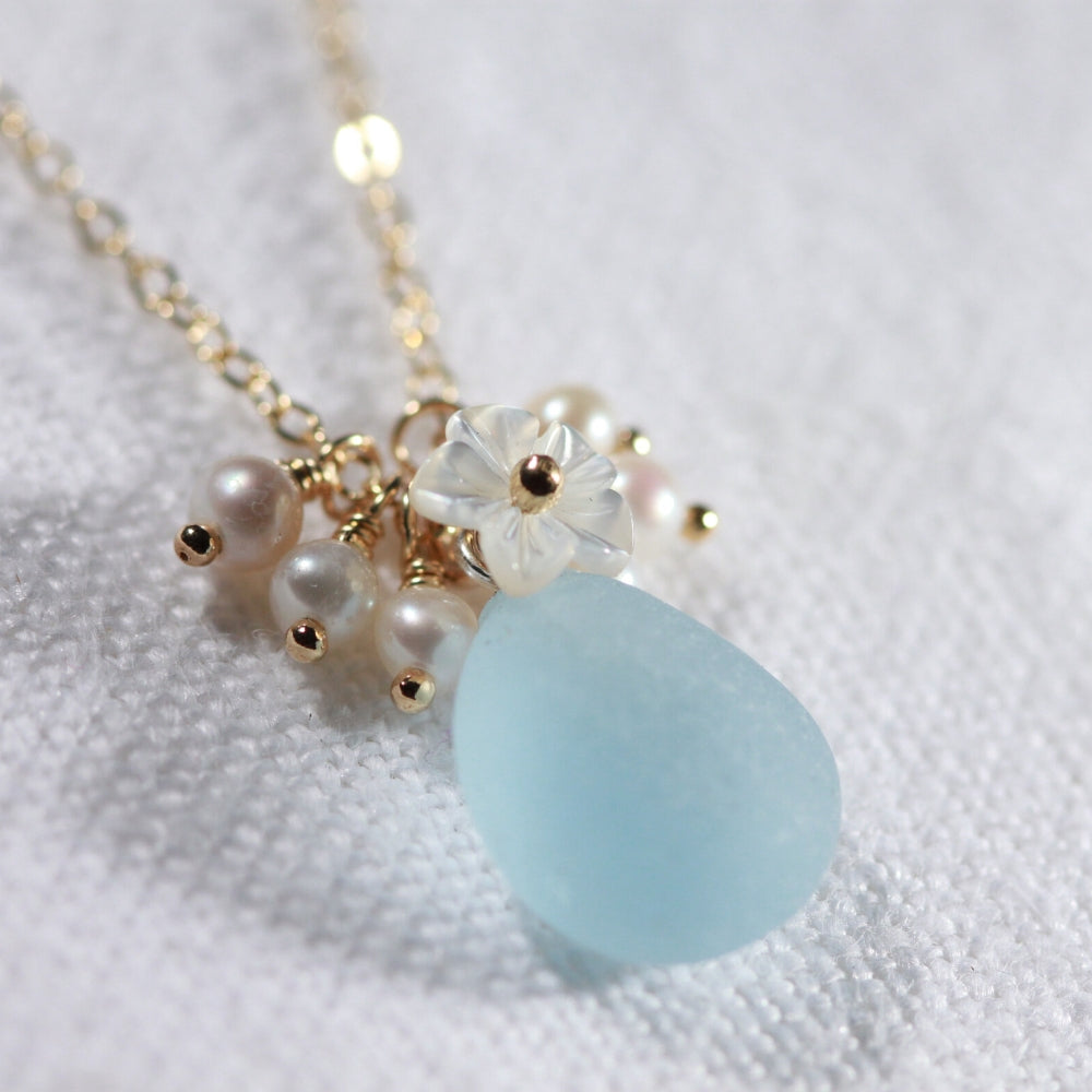 Powder blue Sea Glass, Pearls and MOP carved flower necklace in 14kt GF