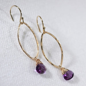 Amethyst Hammered marquise Hoop Earrings in 14 kt Gold Filled