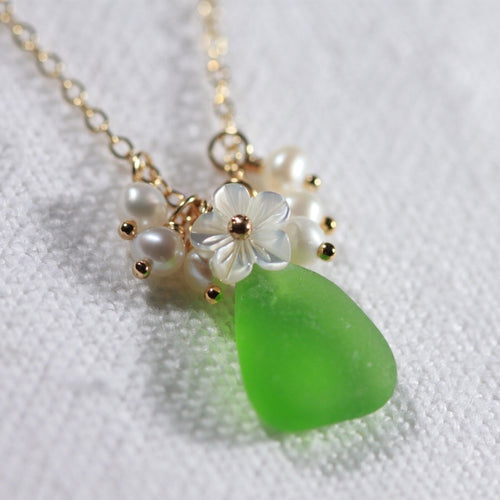 Green Sea Glass, Pearls and MOP carved flower necklace in 14kt GF