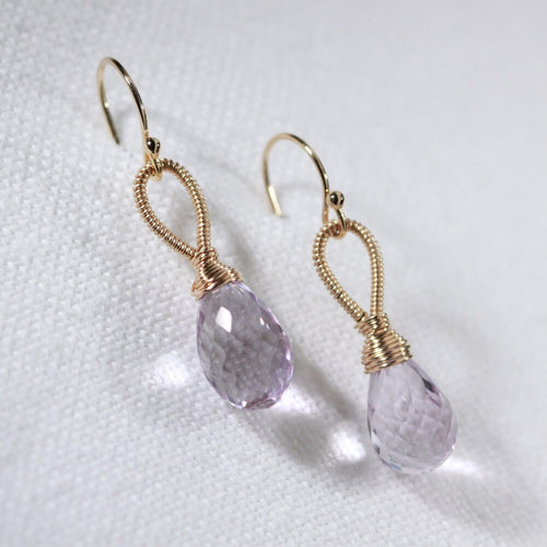 Amethyst Earrings hand wrapped in 14 kt Gold Filled