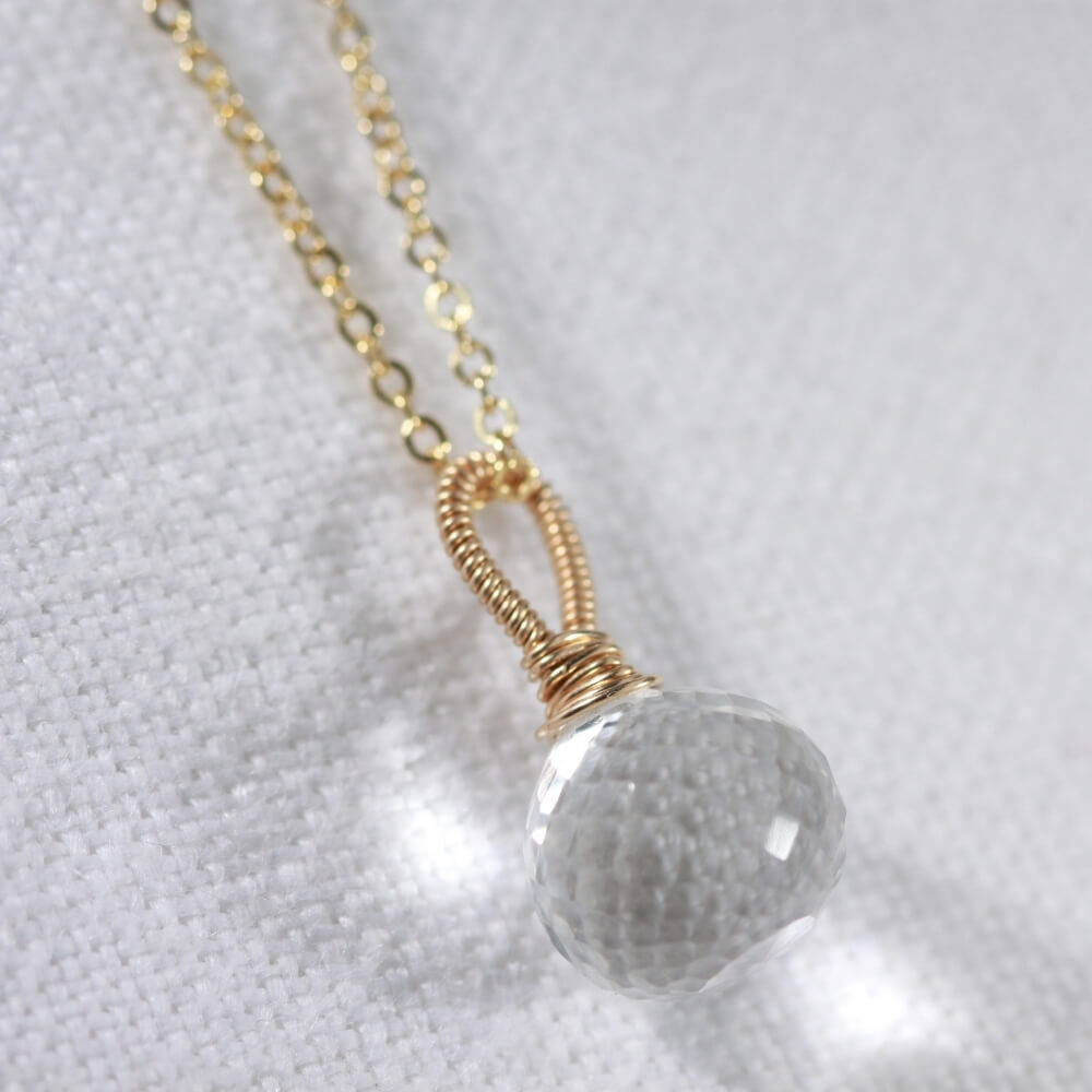 Quartz Crystal Onion cut pendant Necklace in 14 kt Gold-Filled