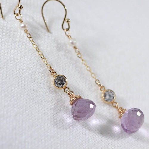 Amethyst and CZ Chain Dangle Earrings in 14 kt Gold Filled