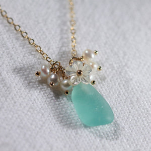 Aqua Blue Sea Glass, Pearls and MOP carved flower necklace in 14kt GF