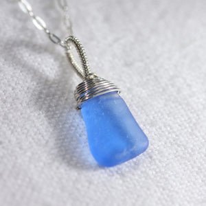 Cobalt blue Sea Glass necklace hand wire wrapped in Sterling Silver