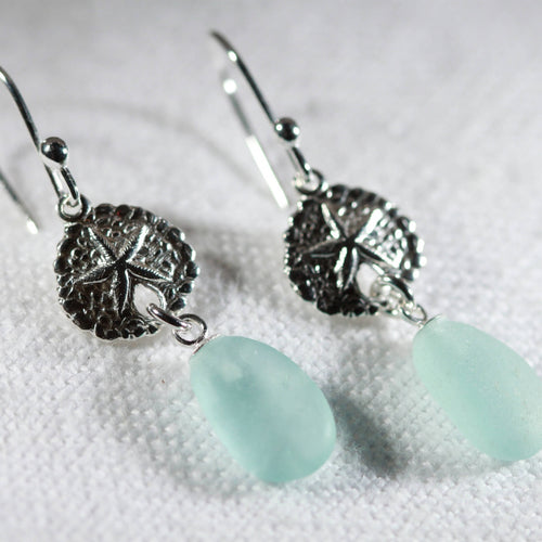 Silver Sand Dollar and Sea Glass Earrings