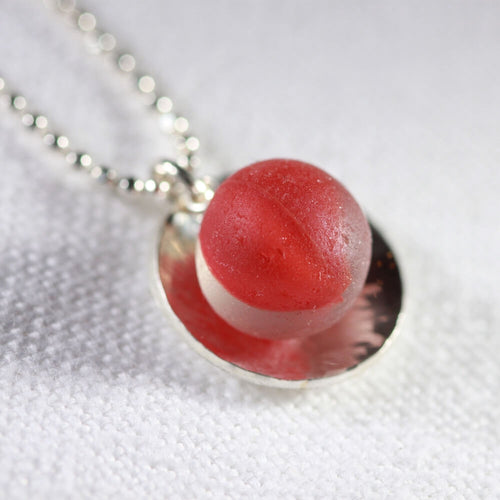 Rare red Cat's Eye Peewee Marble One of a Kind Necklace in Sterling Silver