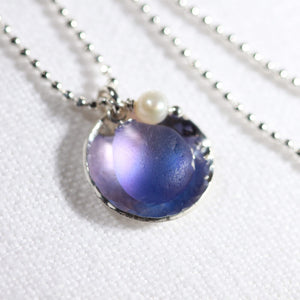 Purple Sea Glass One of a Kind Necklace in Sterling Silver Floating Bezel