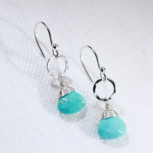Sleeping Beauty Turquoise and hammered circle Earrings in sterling silver