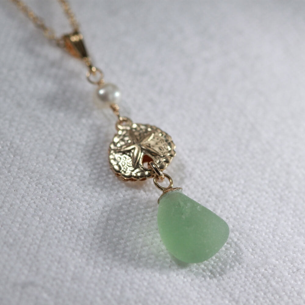 Green Sea Glass necklace with a pearl and 14kt GF sand dollar