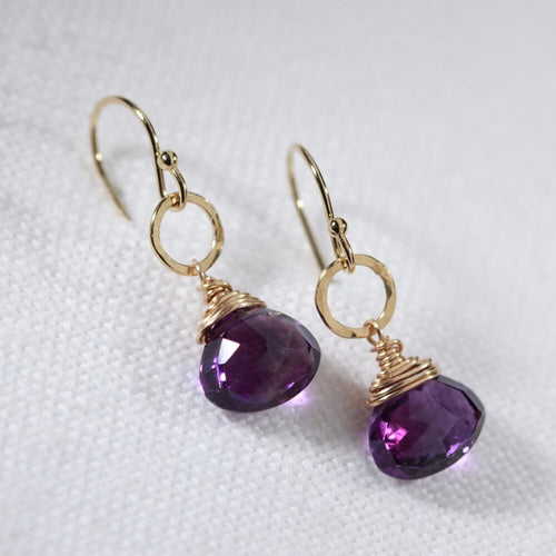 Amethyst and hammered circle Earrings in 14 kt Gold Filled