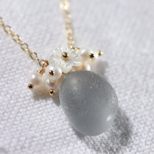 Grey Sea Glass, Pearls and MOP carved flower necklace in 14kt GF