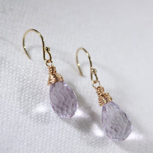 Amethyst gemstone Earrings in 14 kt Gold Filled