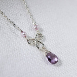 Amethyst Briolette and pearl Pendant Necklace in Sterling Silver