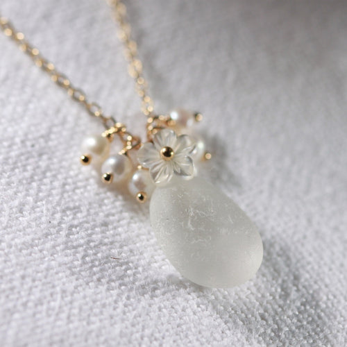 White Sea Glass, Pearls and MOP carved flower necklace in 14kt GF