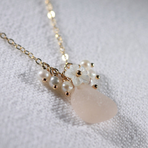 Blush pink Sea Glass, Pearls and MOP carved flower necklace in 14kt GF