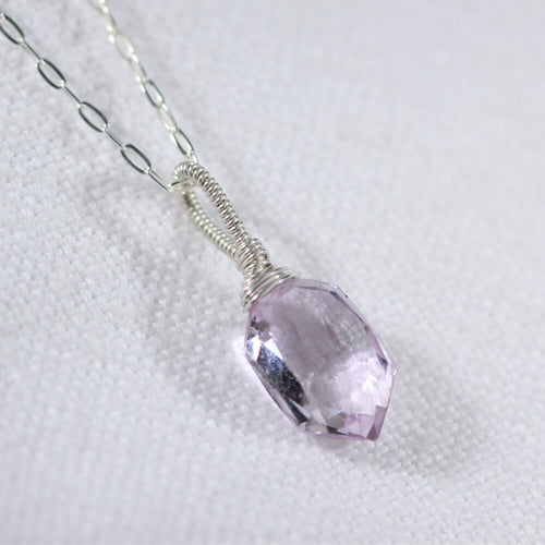 Amethyst multifaceted Hexagon pendant Necklace in sterling silver