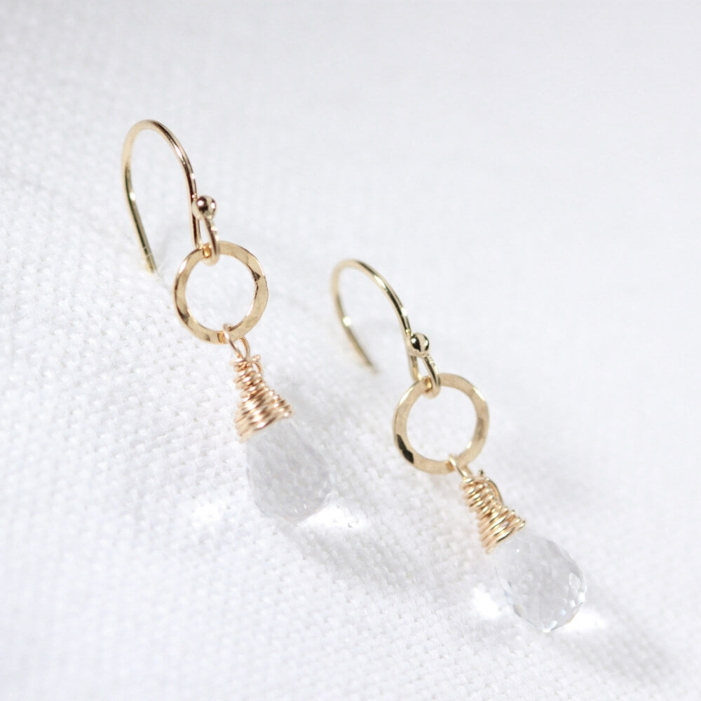 Quartz Crystal Briolette and hammered circle Earrings in 14 kt Gold Filled