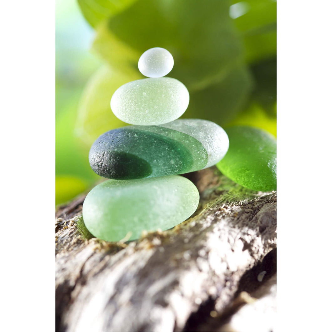 Green Multi Stack Sea Glass with Driftwood Art Print