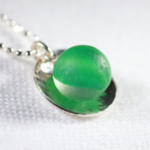 Green Cat's Eye Peewee Marble One of a Kind Necklace in Sterling Silver
