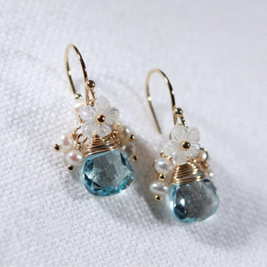 Swiss Blue Topaz gemstone Earrings with pearl clusters in 14 kt Gold Filled
