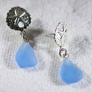 Sea Glass and Silver Sand Dollar Post Earrings
