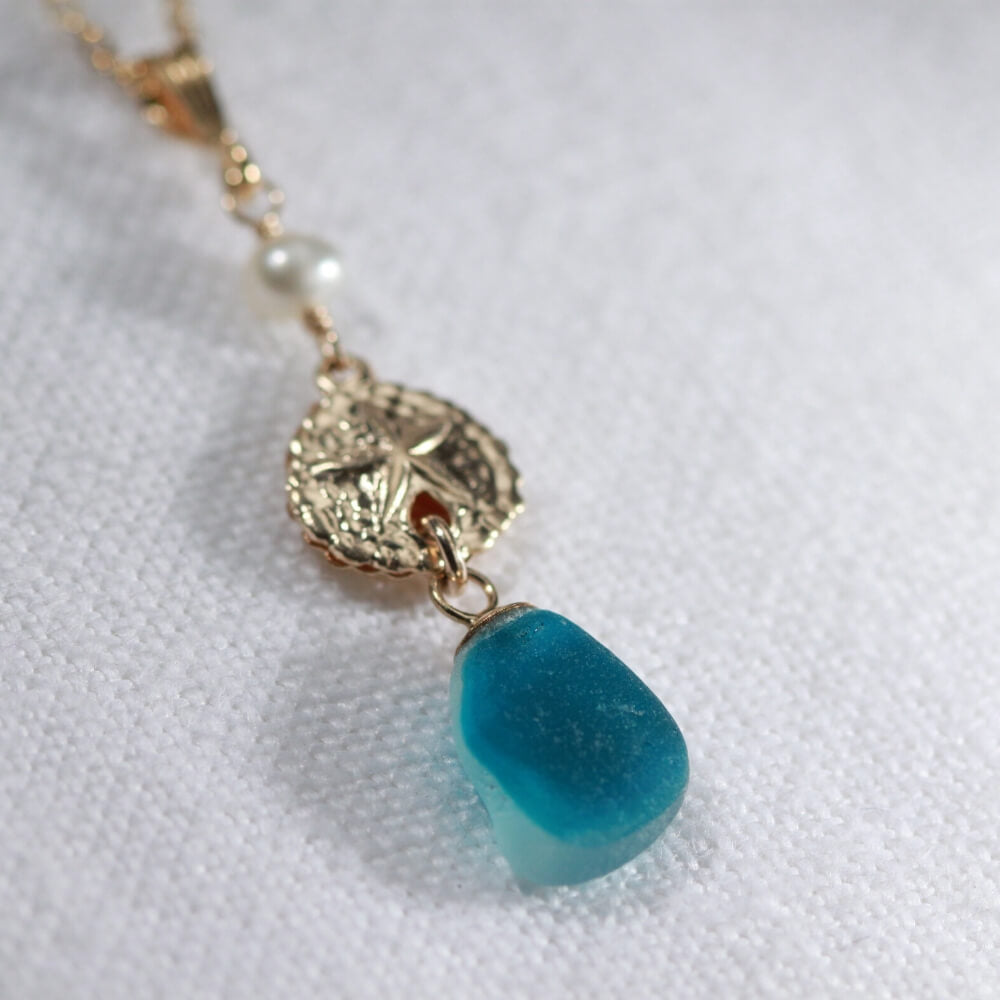 Turquoise Multi Sea Glass necklace with a pearl and 14kt GF sand dollar