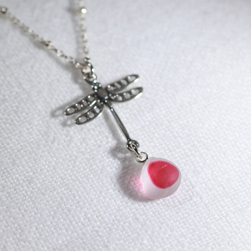 Hot Pink Multi Sea Glass with Sterling Silver Dragon Fly