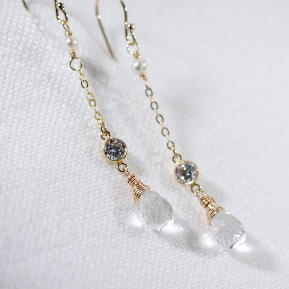 Quartz Crystal and CZ Chain Dangle Earrings in 14 kt Gold Filled
