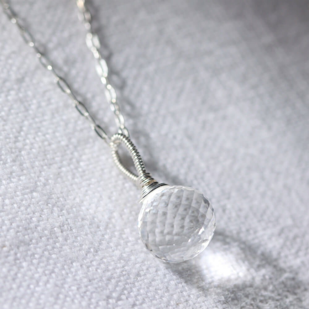 Quartz Crystal Onion cut pendant Necklace in sterling silver