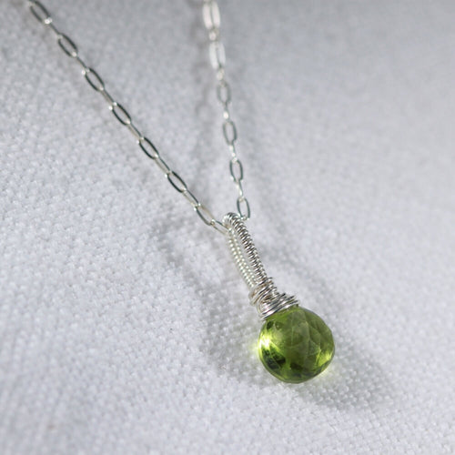 Peridot Briolette faceted gemstone necklace in sterling silver