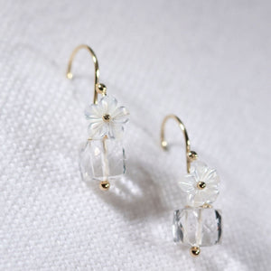 Quarts Crystal petit Earrings in 14 kt Gold Filled
