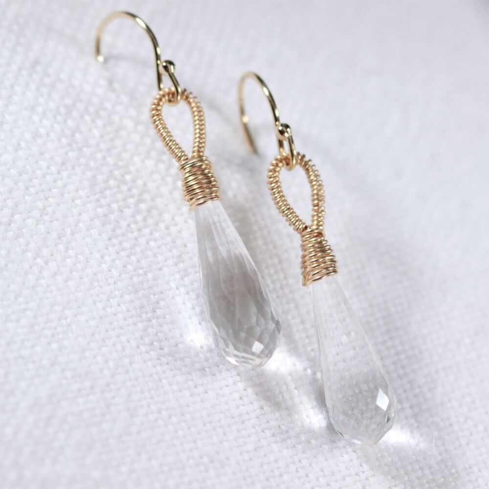 Quartz Crystal Briolette Earrings hand wrapped in 14 kt Gold Filled