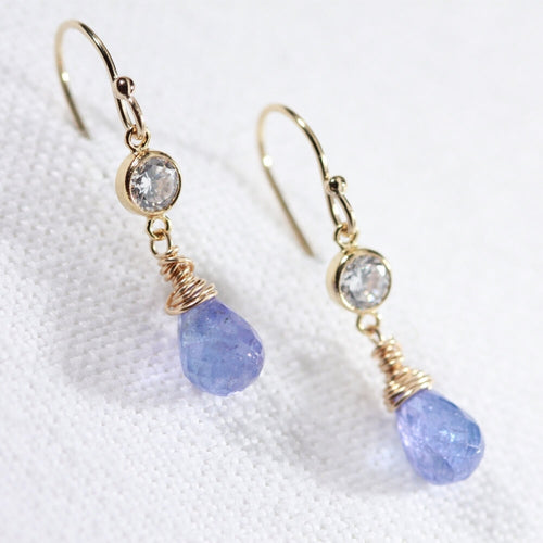 Tanzanite briolette gemstone Dangle Earrings with CZ in 14 kt Gold Filled