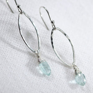 Aquamarine Marquise gemstone and Hammered marquise Hoop Earrings sterling silver