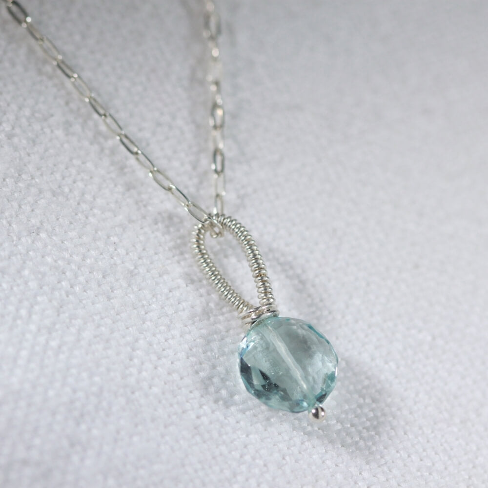Aquamarine faceted gemstone pendant Necklace in Sterling Silver