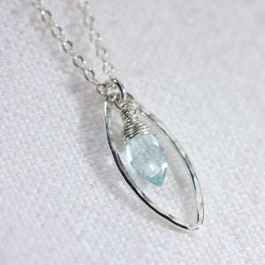 Aquamarine Marquise Briolette Charm Necklace in sterling silver
