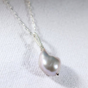Freshwater Grey Pearl Necklace in sterling silver