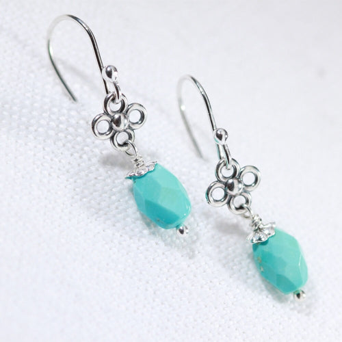Sleeping Beauty Turquoise and flower Earrings in Sterling Silver