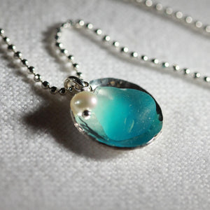 Turquoise Sea Glass One of a Kind Necklace in Sterling Silver Floating Bezel
