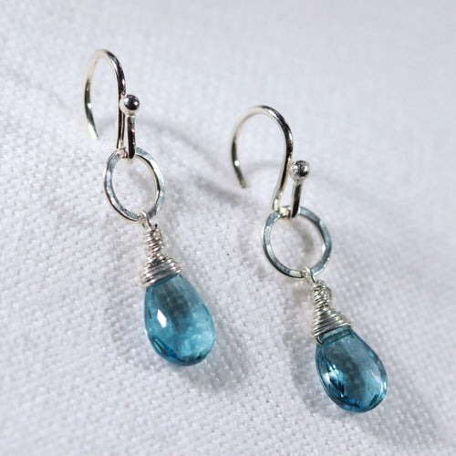 London Blue Topaz and hammered circle earrings in Sterling Silver