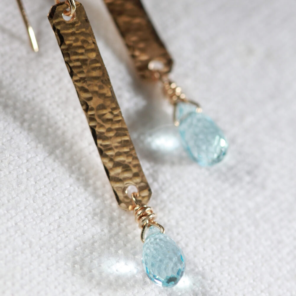 Blue Topaz and Hammered Bar Earrings in 14 kt Gold Filled
