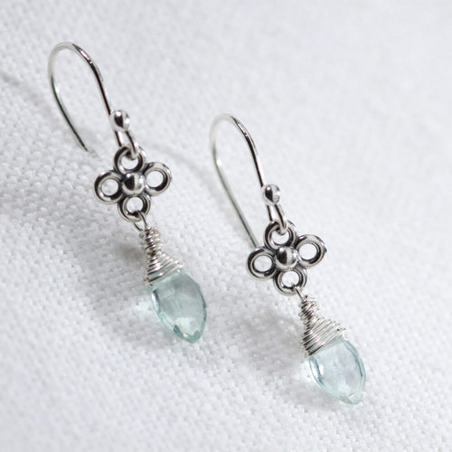 Aquamarine marquise gemstone and flower charm sterling silver drop Earrings