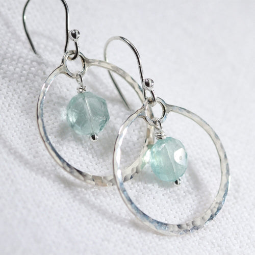 Aquamarine faceted gemstone and Hammered Hoop Earrings in sterling silver
